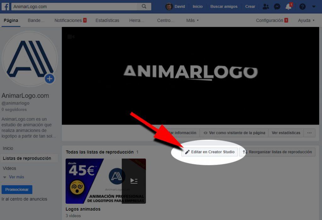 Lista de reproducción Facebook vídeos Creator Studio - AnimarLogo