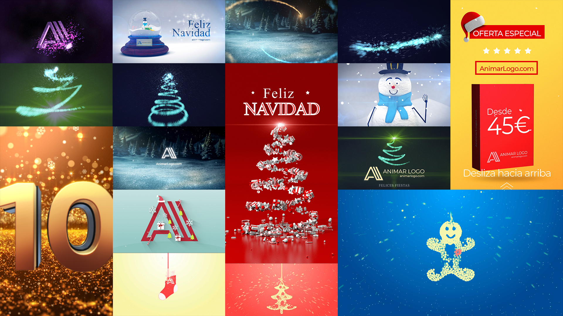 Felicitar la Navidad con vídeo - Felicitaciones navideñas personalizadas con tu logotipo y tu eslogan AnimarLogo