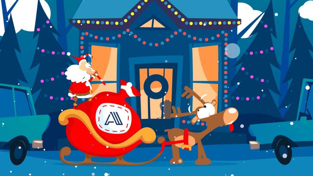 Felicitación-de-Navidad-Aparcar-trineo-AL026-animación-logotipo
