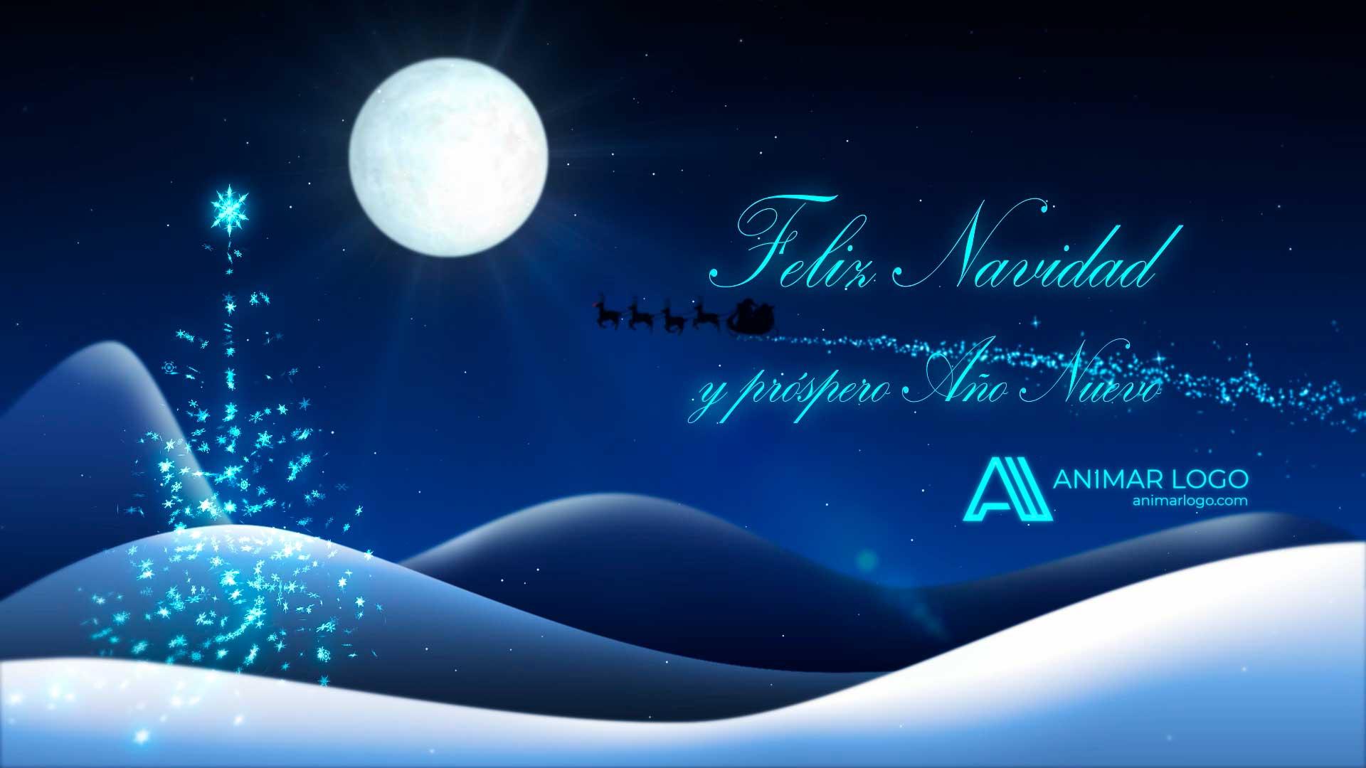 Felicitación-de-Navidad-Destellos-azules-AL047-animacion-logotipo