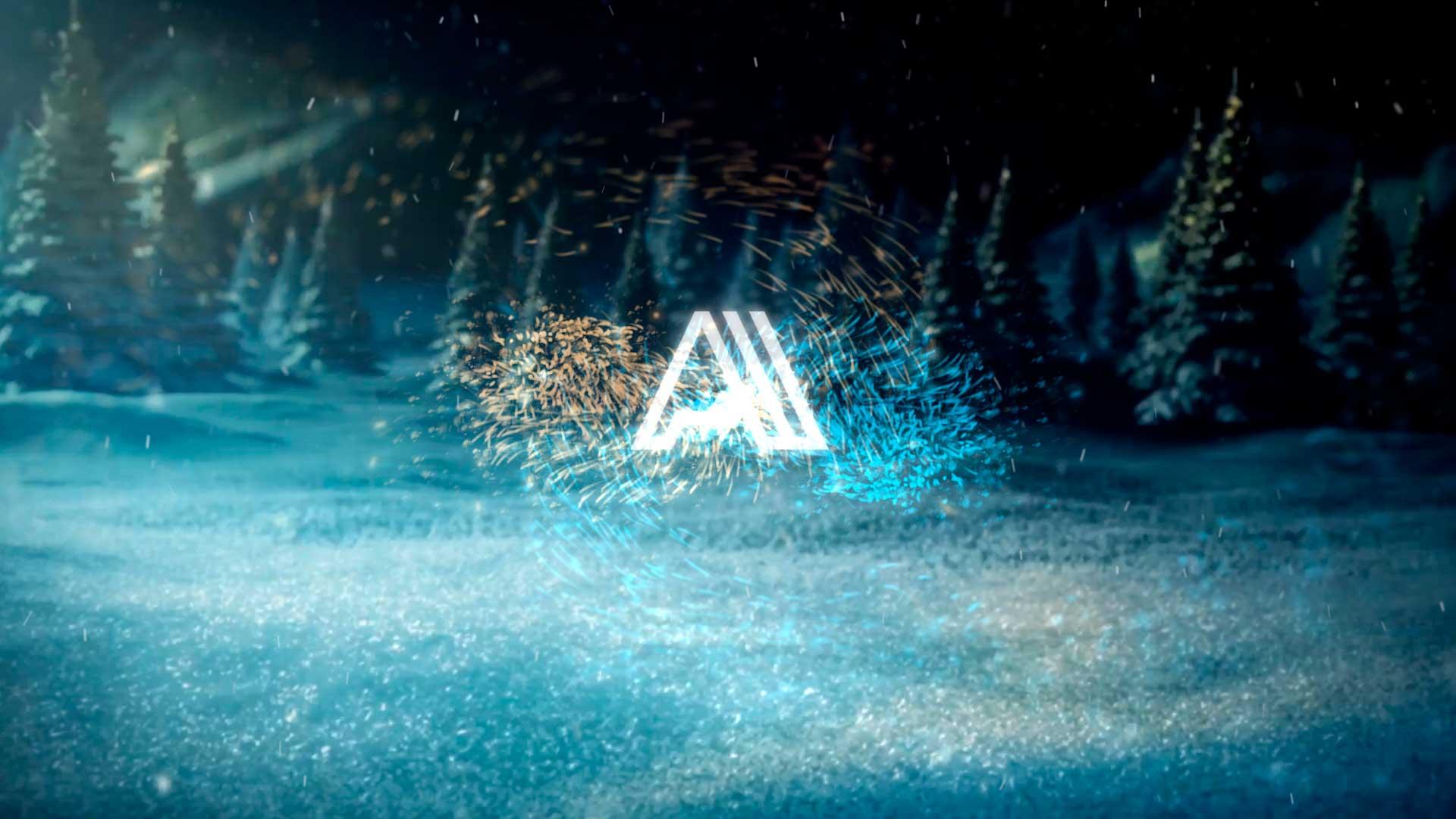 Felicitación-de-Navidad-Montaña-nevada-AL041-Animacion-logotipo